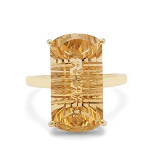 11.50ct Lehrer Matrix Cut Diamantina Citrine 9K Gold Ring