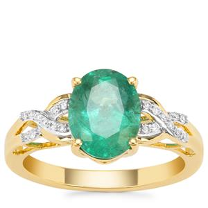 Zambian Emerald Ring with Diamond in 18K Gold 2.08cts