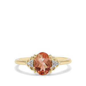 Peach Parti Oregon Sunstone & Diamond 9K Gold Ring ATGW 1.16cts