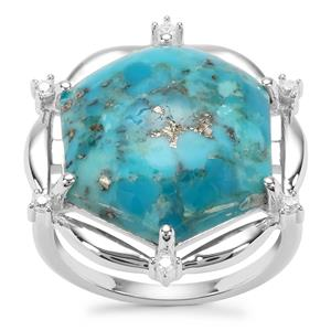 Bonita Blue Turquoise Ring with White Zircon in Sterling Silver 10.95cts