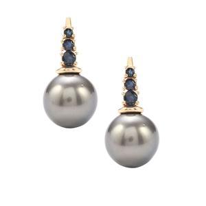 Tahitian Cultured Pearl & Thai Sapphire 10K Gold Earrings  (12mm x 11mm)