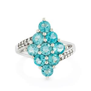 Madagascan Blue Apatite & White Topaz Sterling Silver Ring ATGW 2.92cts