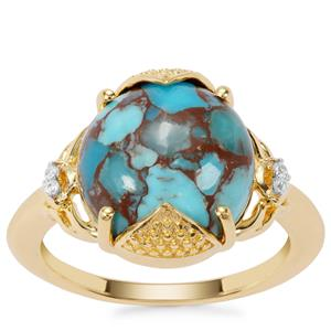 Egyptian Turquoise Ring with White Zircon in Gold Plated Sterling Silver 6.28cts