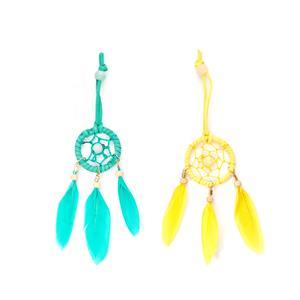Dreamcatcher Handbag Charm with Gemstones  - .01= Blue / .02=Yellow