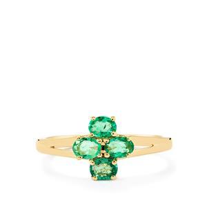 0.66ct Zambian Emerald 9K Gold Ring