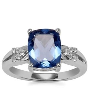Baiyang Colour Change Fluorite Ring with White Topaz in Sterling Silver 3.45cts