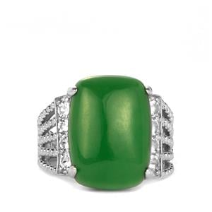 Green Jade & White Topaz Sterling Silver Ring ATGW 13.21cts