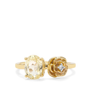 Minas Novas Hiddenite & White Zircon 9K Gold Ring ATGW 1.66cts