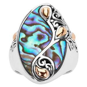 Abalone with 18K Gold Samuel B Ring in Sterling Silver