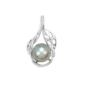 Maruata Cultured Pearl Pendant with White Topaz in Sterling Silver (9mm)