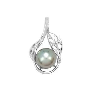 Maruata Cultured Pearl & White Topaz Sterling Silver Pendant (9mm)