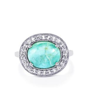 Larimar & White Topaz Sterling Silver Ring ATGW 4.40cts