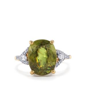 Ambilobe Sphene Ring with Diamond in 18K Gold 6.81cts