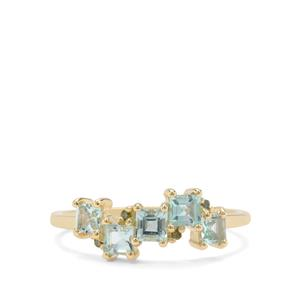 Aquaiba™ Beryl & Green Diamond 9K Gold Ring ATGW 0.67ct