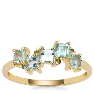Aquaiba™ Beryl Ring with Green Diamond in 9K Gold 0.67cts