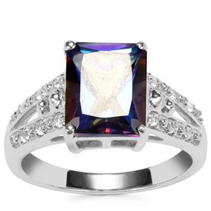 Mystic Blue Topaz Ring with White Topaz in Sterling Silver 4cts
