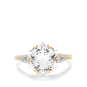 Wobito Snowflake Cut White Topaz & Diamond 9K Gold Ring ATGW 5.74cts