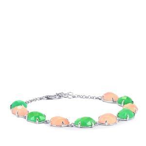 35.80ct Green & Pink Chalcedony Sterling Silver Bracelet