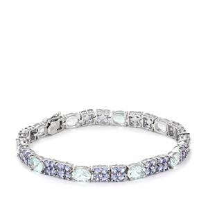 Aquamarine Bracelet with Tanzanite in Sterling Silver 18.10cts