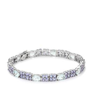 Aquamarine & Tanzanite Sterling Silver Bracelet ATGW 18.10cts