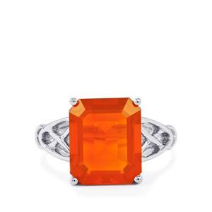 3.95ct AA Orange American Fire Opal Sterling Silver Ring