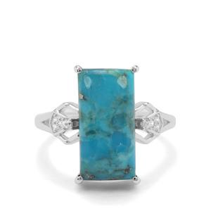 Bonita Blue Turquoise & White Zircon Sterling Silver Ring ATGW 6.66cts
