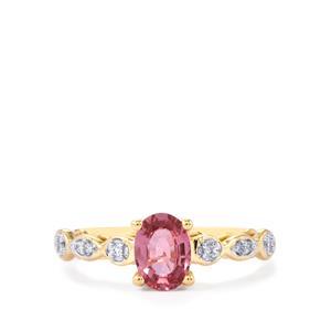 Sakaraha Pink Sapphire Ring with Diamond in 9K Gold 0.83ct