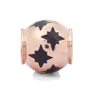 Blue Stars Kama Bead Charms in Rose Gold Plated Sterling Silver