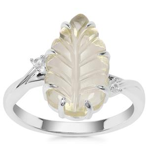 Lemon Quartz Ring with White Zircon in Sterling Silver 3.82cts