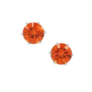 Padparadscha Quartz Earrings in Sterling Silver 3.72cts