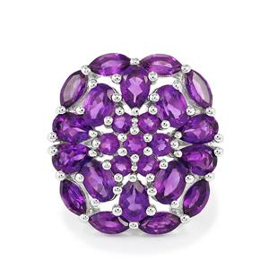 6.61ct Zambian Amethyst Sterling Silver Ring