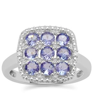 Tanzanite Ring with White Zircon in Sterling Silver 1.30cts
