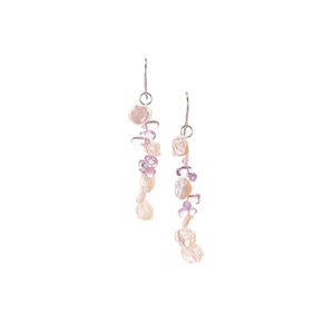 Ametista Amethyst Earrings with Baroque Cultured Pearl in Rhodium Plated Sterling Silver