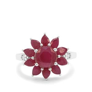 Bharat Ruby Ring with White Zircon in Sterling Silver 4.45cts