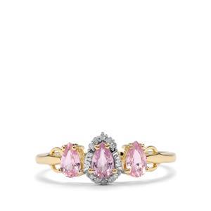 Sakaraha Pink Sapphire & Diamond 10K Gold Ring ATGW 0.76cts