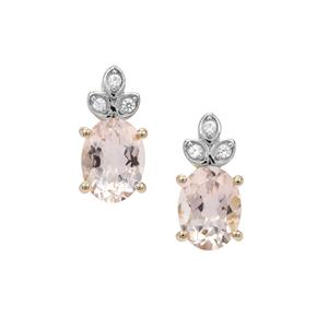 Alto Ligonha Morganite Earrings with White Zircon in 9K Gold 2.15cts