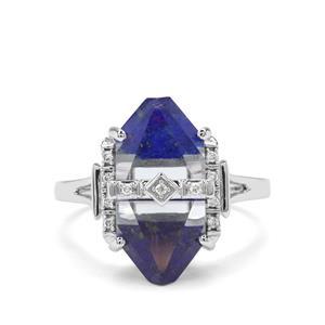 Lehrer Cosmic Obelisk Sky Blue Topaz, Sar-i-Sang Lapis Lazuli & Diamond 9K White Gold Ring ATGW 8.50cts