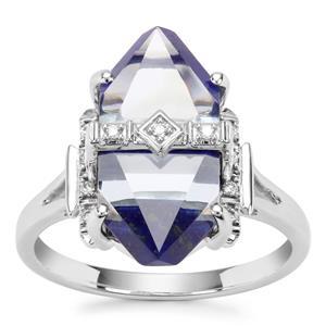 Lehrer Cosmic Obelisk Sky Blue Topaz, Sar-i-Sang Lapis Lazuli Ring with Diamond in 9K White Gold 8.50cts