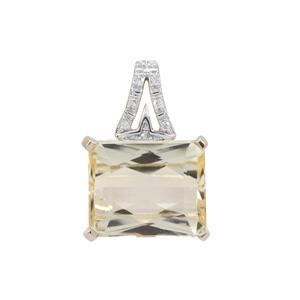 Minas Novas Hiddenite Pendant with Diamond in 9K Gold 4.67cts