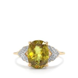 Ambilobe Sphene Ring with Diamond in 18K Gold 3.85cts