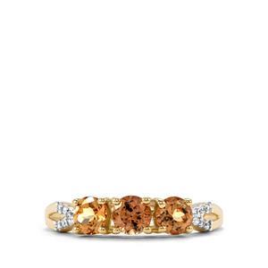 Natural Tanzanian Champagne Garnet & White Zircon 9K Gold Ring ATGW 1.24cts