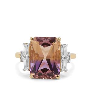 Anahi Ametrine Ring with White Zircon in 9K Gold 6.59cts