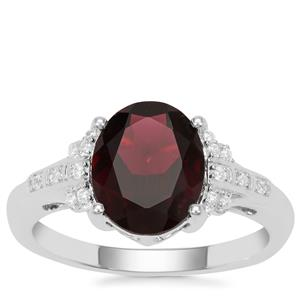 Octavian Garnet Ring with White Zircon in Sterling Silver 3.19cts