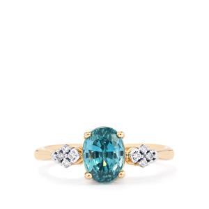 Ratanakiri Blue Zircon Ring with Diamond in 14K Gold 3.60cts