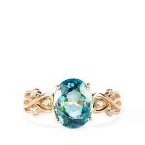 Ratanakiri Blue Zircon Ring with White Zircon in 10K Gold 4.32cts