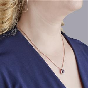 Amethyst Pendant Necklace with White Zircon in Rose Gold Vermeil 1.13cts