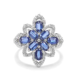 Daha Kyanite & White Zircon Sterling Silver Ring ATGW 2.14cts