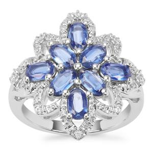 Daha Kyanite Ring with White Zircon in Sterling Silver 2.14cts