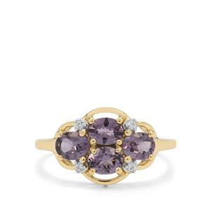 Mahenge Purple Spinel & White Zircon 9K Gold Ring ATGW 1.45cts