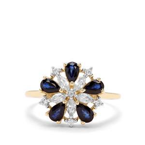 Sri Lankan Sapphire & White Zircon 9K Gold Ring ATGW 1.90cts